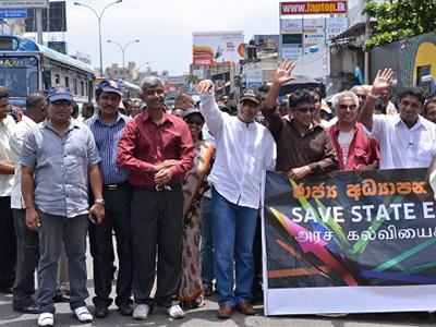 Protest marches of Sri Lanka university academics and students reach capital Colombo